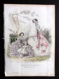 Journal des Demoiselles C1850 Antique Hand Col Fashion Print 71
